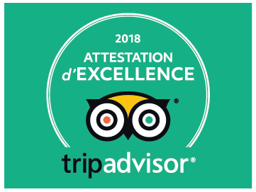 Attestation d'Excellence 2018 sur TripAdvisor